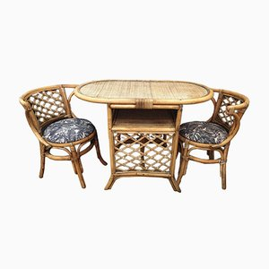 Vintage Garden Table & 2 Rattan Chairs