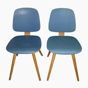 Model 58 Light Blue Kitchen Chairs from Thonet, 1950s, Set of 2