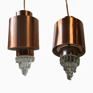 Lámparas colgantes Mid-Century en forma de carámbano de vidrio y cobre de Vitrika. Juego de 2