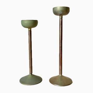 Art Deco German Copper & Brass Candleholders, 1930s, Set of 2