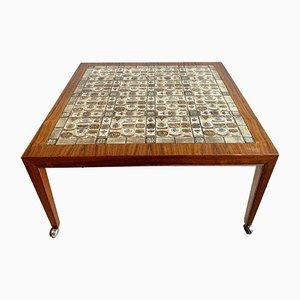 Table Basse à Dessus Carrelé Vintage en Palissandre & en Céramique par Severin Hansen pour Haslev Møbelsnedkeri