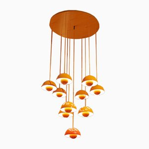 Lámpara de araña en cascada vintage con 10 luces de de Verner Panton para Louis Poulsen