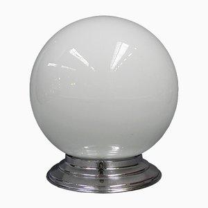 Plafonnier Art Déco avec Boule en Verre Blanc