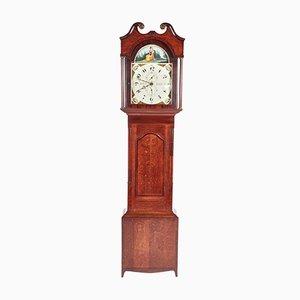 Reloj de caja alta antiguo de roble y caoba de W Prior Skipton, década de 1820