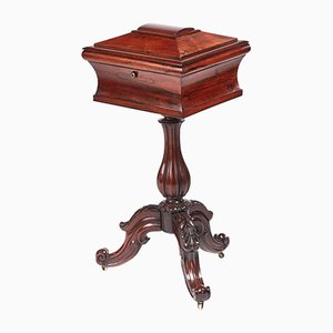Victorian Carved Rosewood Teapoy, 1850s