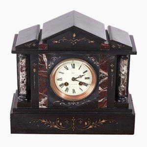 Antique Victorian Black Marble Mantel Clock, 1860s