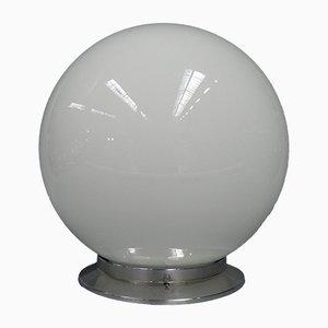Lampada da soffitto Art Déco sferica in vetro bianco