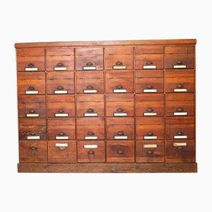 Vintage Pine 30 Drawer Filing Cabinet, 1940s