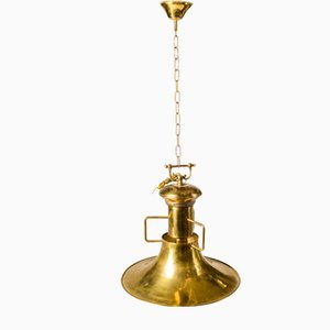Italian Brass Hanging Lamp, 1980s