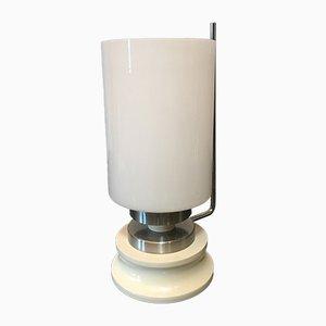 Lampada da tavolo in vetro opalino e alluminio, Italia, anni '60