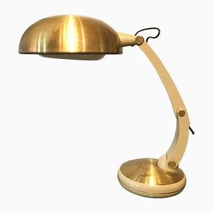 Brass, Plastic, & Galvanized Metal Table Lamp, 1970s