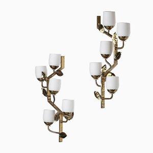 Große italienische Wandlampen aus Messing, 1950er, 2er Set