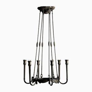 Lámpara de araña Art Déco de bronce, años 30