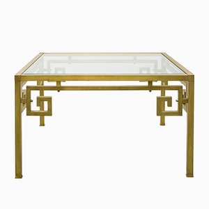 Golden Metal & Glass Coffee Table, 1980s