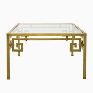 Tavolino da caffè in metallo dorato e vetro, anni '80