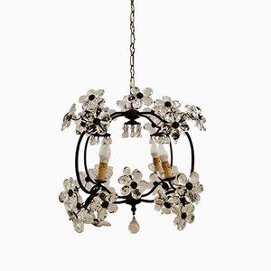 Vintage Deckenlampe mit Anhängern aus Muranoglas in Blumen-Optik