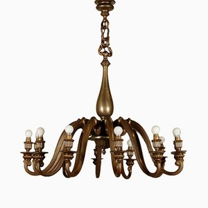 Italian Cast Brass Chandelier, 1940s