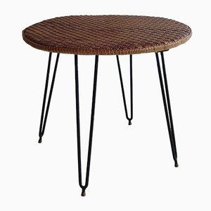 Italienischer Mid-Century Tisch mit Tischplatte aus Korbgeflecht