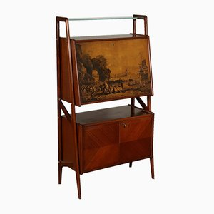 Italian Mahogany Veneer Cabinet with Bar Compartment, 1950s