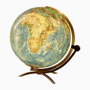 Deutscher Vintage Globus aus Glas mit Beleuchtung von Columbus