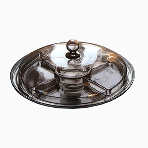 Smoked Glass Serving Tray by Vicke Lindstrand for Orrefors, 1930s
