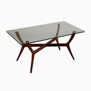 Italian Beech & Glass Coffee Table, 1950s