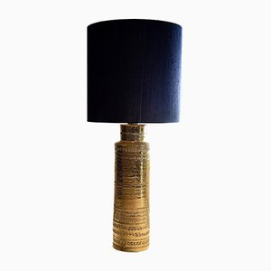 Mid-Century Gold Ceramic Table Lamp by Aldo Londi for Bitossi, 1960s