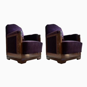 Art Deco Mahogany and Purple Velvet Lounge Chairs by Carel Adolph Lion Cachet, Set of 2, 1930s