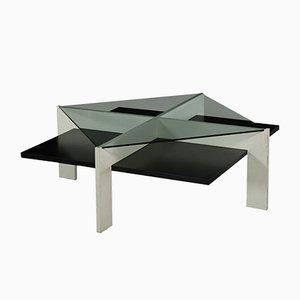 Mesa de centro italiana vintage de madera lacada y vidrio