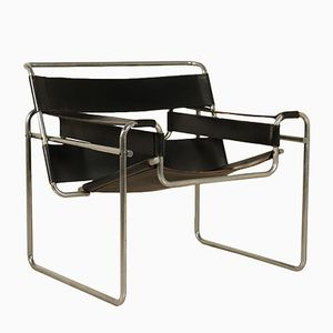 Vintage Leather Armchair by Marcel Breuer