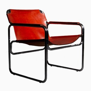 Vintage Red-Brown Leather & Tubular Steel Chair