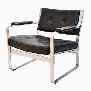 Vintage Black Leather and Aluminium Mondo Lounge Chair by Karl-Erik Ekselius for JOC Vetlanda