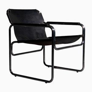 Stuhl mit röhrenförmigem Stahlgestell & schwarzem Ledersitz