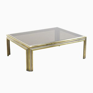 Large Sculptural Brass & Chrome Coffee Table, 1970s