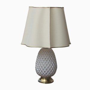 Lámpara de mesa italiana en forma de piña de latón y vidrio, años 70