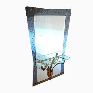 Specchio vintage di Pier Luigi Colli per Cristal Art, anni '50