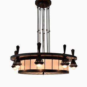 Lámpara de araña Art Déco de Winkelman & Van de Bijl, 1925