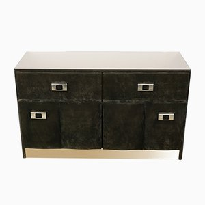 Vintage Velvet, Brass, and Glass Chest of Drawers