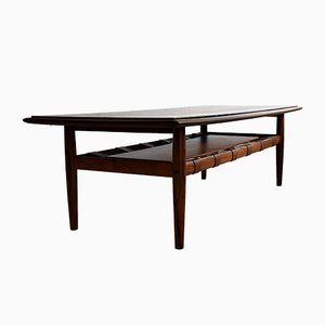 Mid-Century Modern Rosewood and Brass Coffee Table, 1969