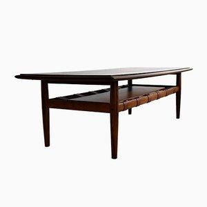 Table Basse Moderne Mid-Century en Palissandre et Laiton, 1969
