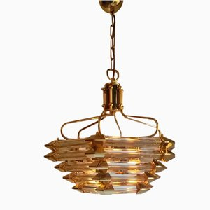 Vintage Model 5R Gilded Bronze & Glass Chandelier from Bakalowits & Söhne