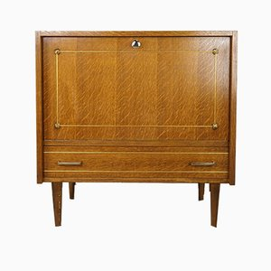 Mid-Century French Oak and Brass Bar Cabinet