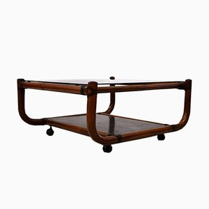 Vintage Italian Bamboo and Glass Coffee Table