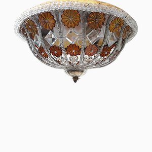 Vintage Brass and Murano Glass Flush Mount