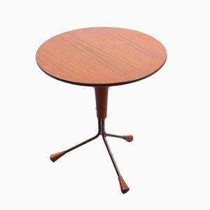 Tavolino tripode vintage in teak e rame di Albert Larsson per Alberts Tibro