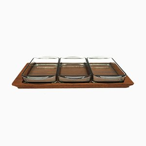 Vintage Teak Tray with 3 Glass Bowls, 1960s