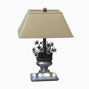 Lámpara de mesa Mid-Century de cristal, latón y pergamino, años 50