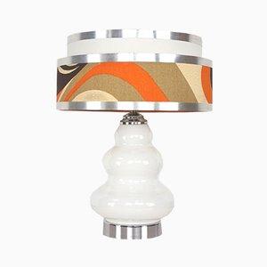 Lampada in vetro e metallo cromato, anni '60