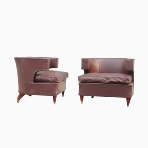 Italian Armchairs with Wooden Feet, 1930s, Set of 2