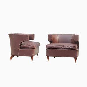 Italienische Armlehnstühle mit Holzgestell, 1930er, 2er Set
